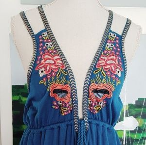 Free People Dresses - NWT FREE PEOPLE BLUE COTTON EMBROIDERED DRESS